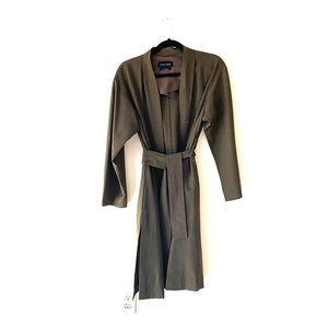1-01 Babaton fine wool olive green trenchcoat NWOT